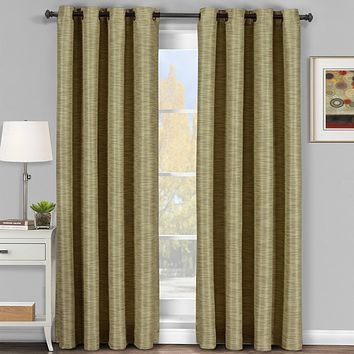 Tan-Beige 54x95 Galleria Blackout Thermal Coating Tonal Stripe Window Grommet Panel