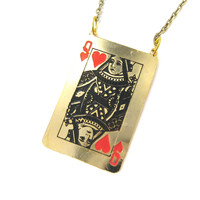 Queen of Hearts Playing Card Shaped Pendant Necklace | Limited Edition