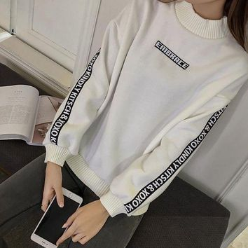 LMFON1O Loose and cashmere sweater female thickening