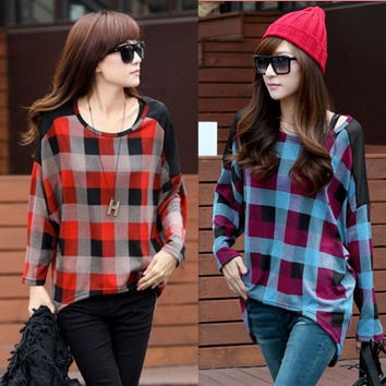 Women Ladies Autumn Batwing Long Sleeve Casual Loose T Shirt Tops Blouse = 1946281092