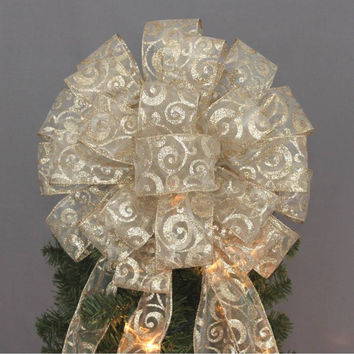 Gold Glitter Swirl Christmas Tree Topper Bow