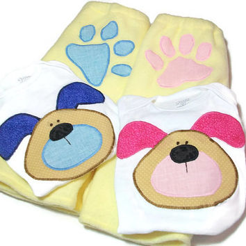 Twin Boy and Girl Outfits - Twin Fleece pants and Bodysuit Sets - Matching Twin Outfits - Twin Baby Gifts