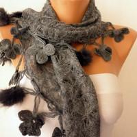 Knitted  Scarf  -  Headband - Cowl with Lace and Pompom Edge - Gray