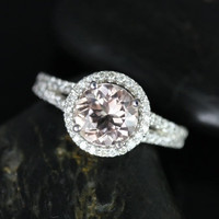 14kt White Gold Thin Morganite Round Halo with a Split Band Engagement Ring (Other metals and stone options available)