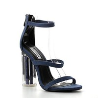 Clear Heel Denim Sandals