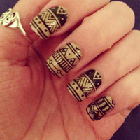 Black Aztec by PaipurNails on Etsy