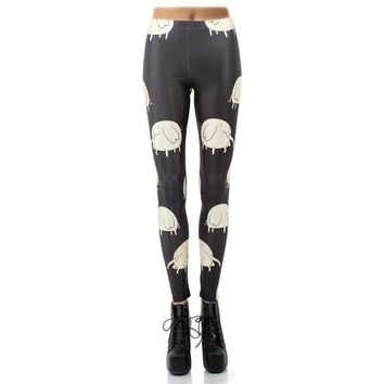 Adventure Time Women's Black & White Slim High Waisted Elastic Printed Fitness Workout Leggings