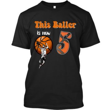 5th Birthday Basketball T-Shirt Funny 5 Years Old Gift Custom Ultra Cotton