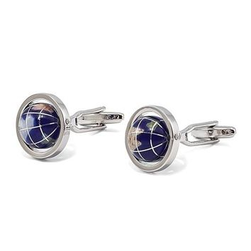 Reconstituted Lapis Globe Design Silver-Plated Cuff Links