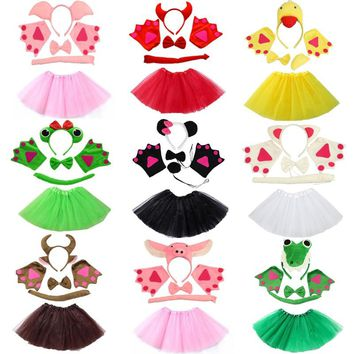 Assorted Animals Headband Bow Tie Tail Paws Gloves Tutu Skirt Set Cosplay Costume Accessories Kids Party Dress Up Props