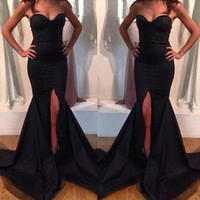Black Strapless Bodycon Maxi Dress