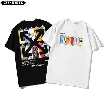 DCCK 1470 OFF WHITE MITF Spray paint bottles for men and women loose lovers short-sleeved t-shirt