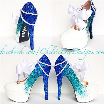 Aqua Ombre Glitter High Heels, Something Blue White Wedding Shoes, Sparkly Royal Blue Pumps