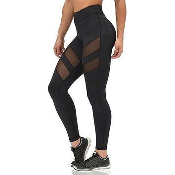 Women's Sexy Black Slim Fitted Mesh Patchwork Fashion Leggings