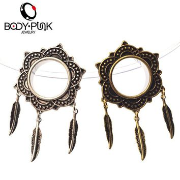 BODY PUNK Piercing Jewelry Dangle Feather Ear Plug & Tunnel Jewelry Stainless Steel Ear Expanders Earring Studs Gauges 6-25mm