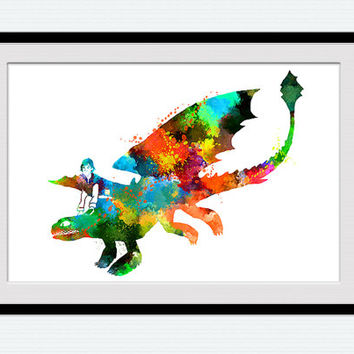 How to train your dragon watercolor poster, vivid colorful print, home decoration gift, kids room decor, wall hanging illustration, W146