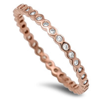 Anna's Design Sterling Silver CZ Rose Gold Plated Stackable Ring