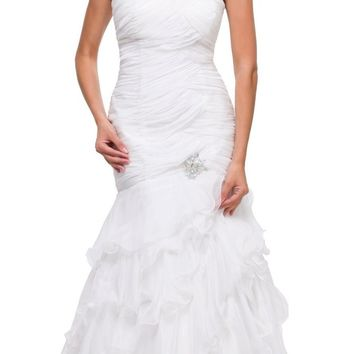 Single Strap Off White Formal Gown Full Length Chiffon Layers Ruched
