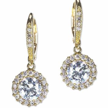 CZ by Kenneth Jay Lane - Classic Gold Plated Pavé Round Drop Pierced Earring