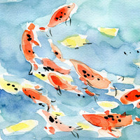 Koi Pond art Print of original watercolor painting, Abstract, colorful bright fun 16X11, limited edition,