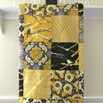 Modern Baby Quilt -  Aviary 2 - Crib Quilt in Mustard, Black, Grey - Toddler Quilt - Flannel or Minky Back - Nursery Bedding, Birds,