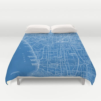 Los Angeles Street Map Duvet Cover - bed - bedroom, travel decor, cozy blue and white, winter, warm, wanderlust