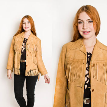 Vintage 1960s Jacket - Fringe Suede Brown Western Boho Hippie Leather Coat - Small