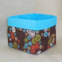 Beautiful Brown and Turquoise Paisley Fabric Basket