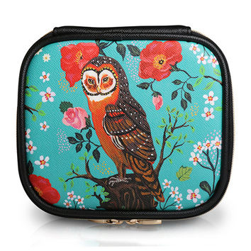Square Cosmetic Pouch Nathalie Lete - Owl Mint