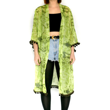 Olivia Marie Light and Dark Green Tie Dye Pompom Fringe Kimono Jacket