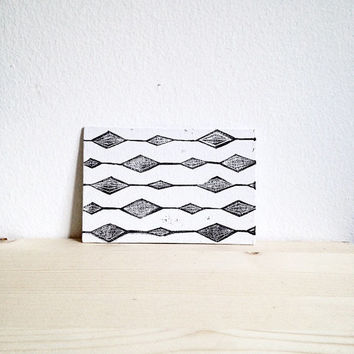 Linocut Print with Geometric Design in Black and White, Gems Print