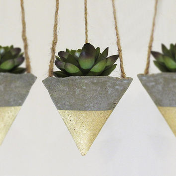 Succulent Planter, Concrete Planter, Hanging Planter, Geometric Planter, Modern Planter, Succulent Pot, Air Plant Holder, Gold - Set of 3