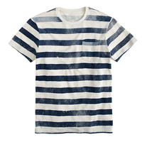 J.Crew Mens Textured Cotton T-Shirt In Faded Distressed Stripe