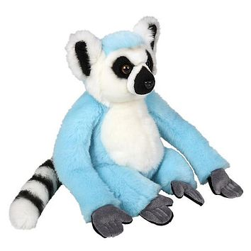 9 Inch Bright Blue Ring-tailed Lemur Plush Stuffed Animal Floppy Rainbow Prism Collection
