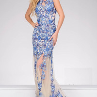 Blue Floral Applique Print Sheer Dress 47540