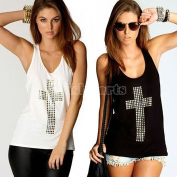 Women's Rhinestones Cross Hot Drill Racerback Low O-neck Slim Tanks = 5617694209