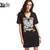 SheIn Women Summer Dresses Black Graphic Print Cut Out V Neck Tee Dress Ladies Short Sleeve Shift T-shirt Dress