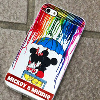 Mickey Minnie Colorful Rain- for iPhone 4/4s/5/5c/5s, Samsung S3/S4 case cover, gift under 25