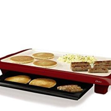 Red or Black Electric Nonstick Duraceramic Griddle with Warming Tray