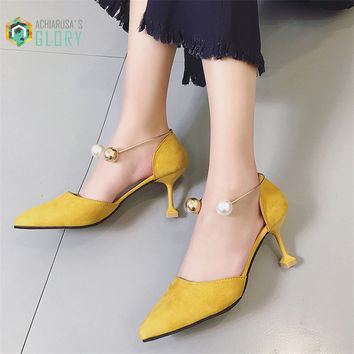 2017 women kitten heels 6cm pumps sandals pointed toe solid sandals shoes High-heeled Shoes Thin Shoes Pointed Stiletto Elegant