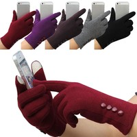 Feitong Fashion Womens Winter 4 Buttons Touch Screen Gloves Outdoor Sports Warm Gloves Mittens Mittens Cashmere