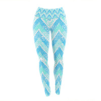 "Marianna Tankelevich ""Mint Snow Chevron"" Blue Chevron Yoga Leggings"