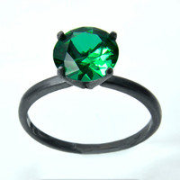 Emerald Tiffany Set Right-Hand Ring