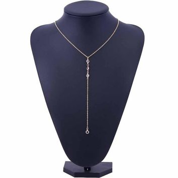 Y Long necklace Lugs necklace Transparent crystal necklace Women Tassel