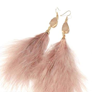 Earrings for Women Holiday Beach Statement Feather Tassel Feather Long Drop Earrings Fashion Pink Quartz Stone