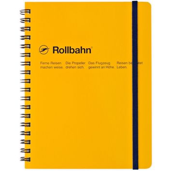 """Rollbahn Notebook YellowSmall 4.25 x 5.5"""" Or Large 5.5 x 7"""""""