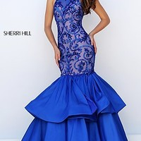 Layered Mermaid Style Long Halter Prom Dress by Sherri Hill