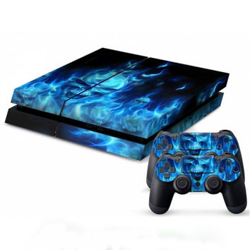 Cool Blue Skull Vinyl Decal Skin For playstation 4 Console +2Pcs Stickers For ps4 Controllers