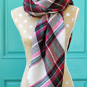 PINK Plaid Blanket Scarf, Plaid Scarf, Oversized Scarf, Multi Colored Scarf, Knit Scarves, Zara Inspired