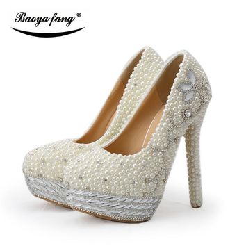 BaoYaFang Beige pearl and crystal womens wedding shoes Bride platform shoes high shoes ladies big size Pumps woman shoes